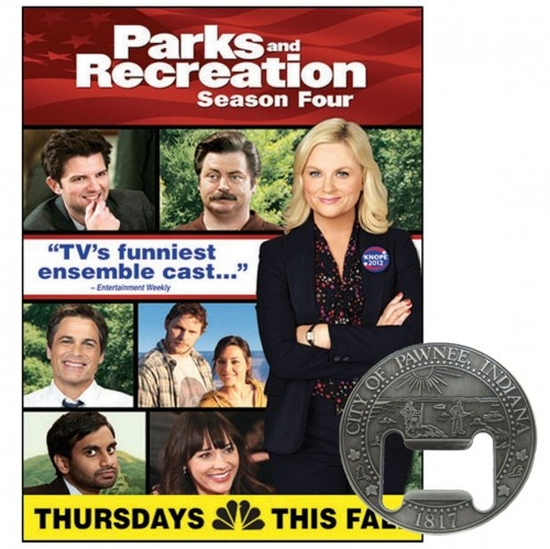 Parks and Recreation Season 4 DVD with Pawnee Bottle Opener
