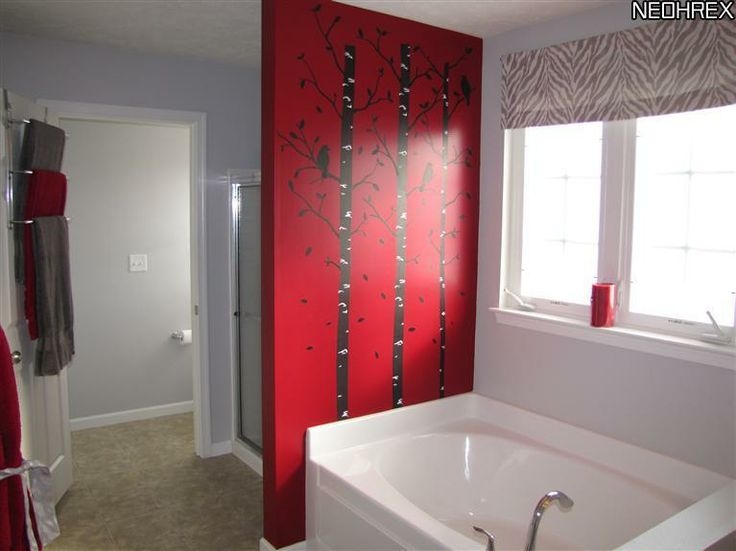 Red Accent Wall Awesome With Bathroom with Red Accent Wall Picture