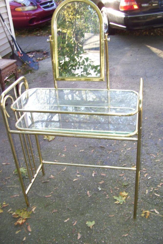Shhhh hollywood regency brass 2 tier glass shelf vanity table w mirror