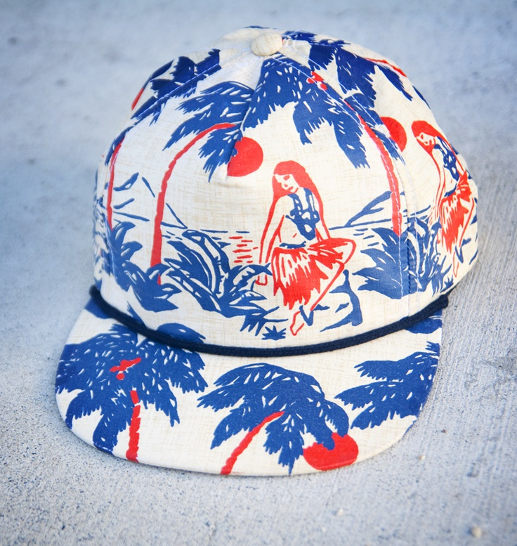 Hawaiian Print Summer Caps by Mitchell's Cap Co
