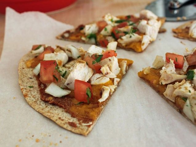 Mexican Chicken Flatbread - just toasted wheat tortillas, refried ...