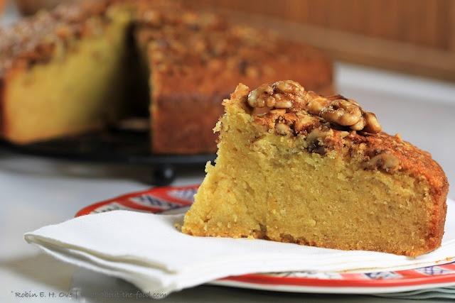 Rum Orange Olive Oil Cake with Candied Walnut Topping