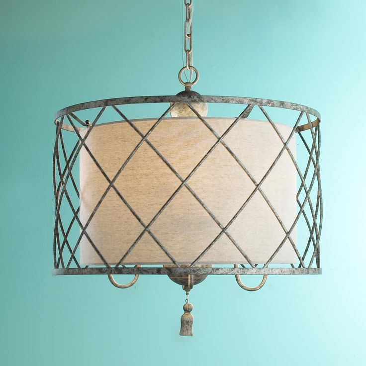 metal lattice drum with linen shade pendant light