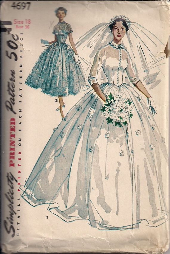 Vintage Bridal Gown Sewing Pattern S4697 Size 18
