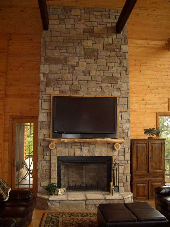 2 Story Stacked Stone Fireplace Interior Fireplaces