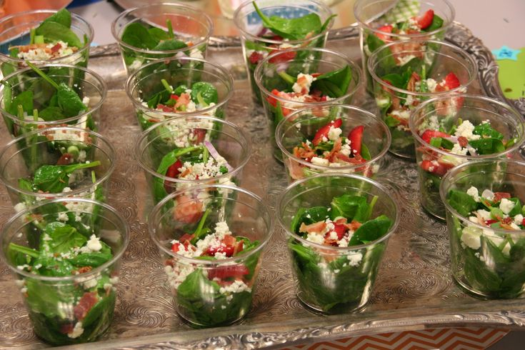 Spinach Salad Cups Party Food Pinterest
