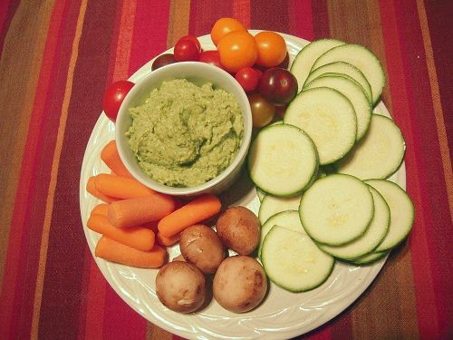 Garlic and Parsley Hummus With Crudites -- I would probably replace ...