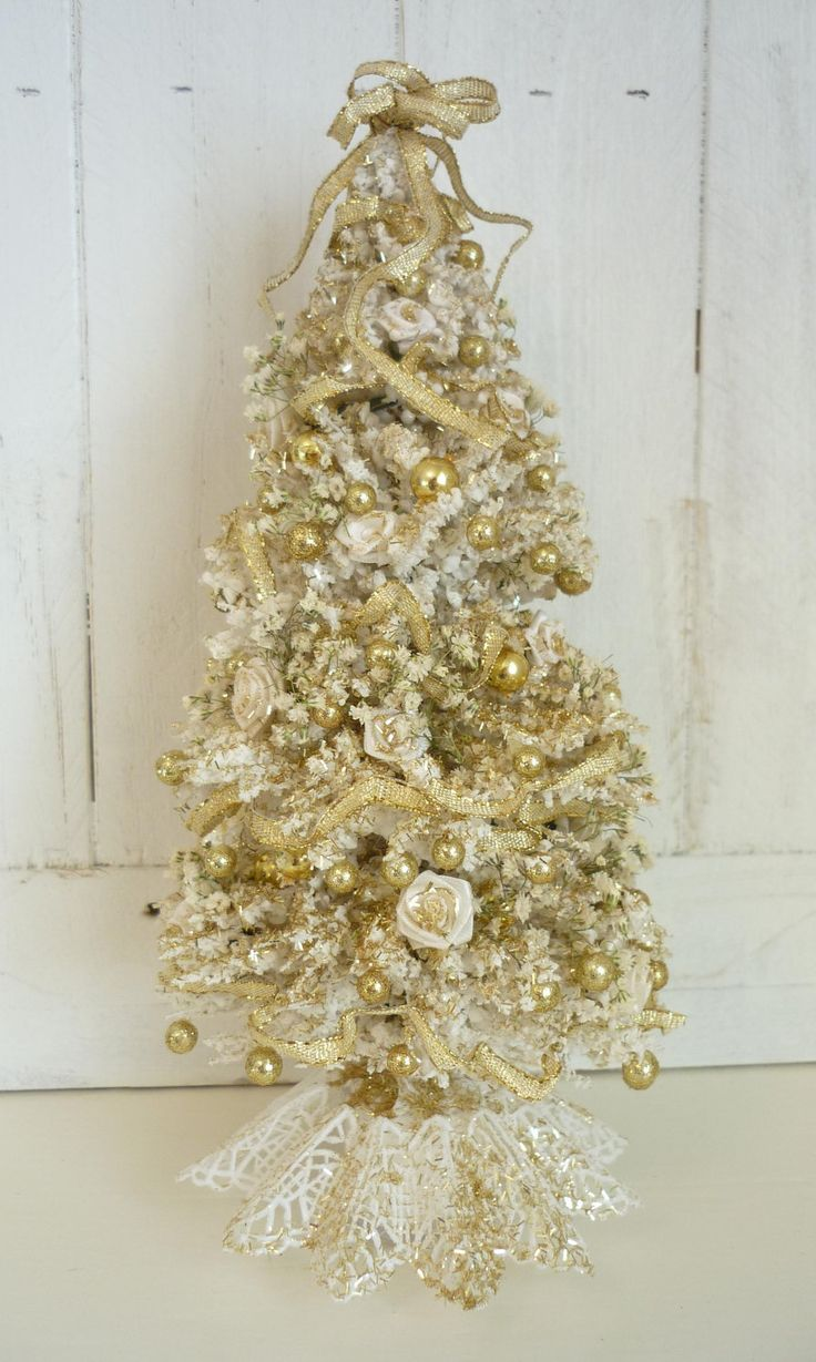 elegant white and gold christmas tree dollhouse miniature
