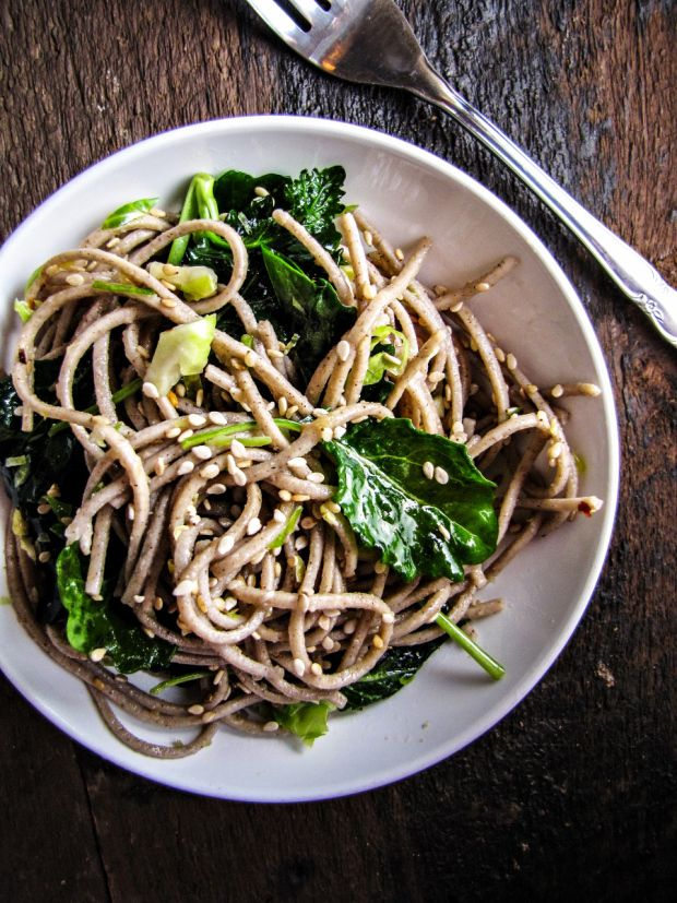 Soba Noodles with Kale, Sesame & Slivered Brussels Sprouts