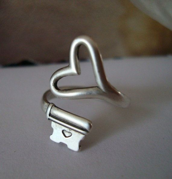 Gothic Steampunk SKELETON KEY Heart Ring by ParadiseFindings, $24.99