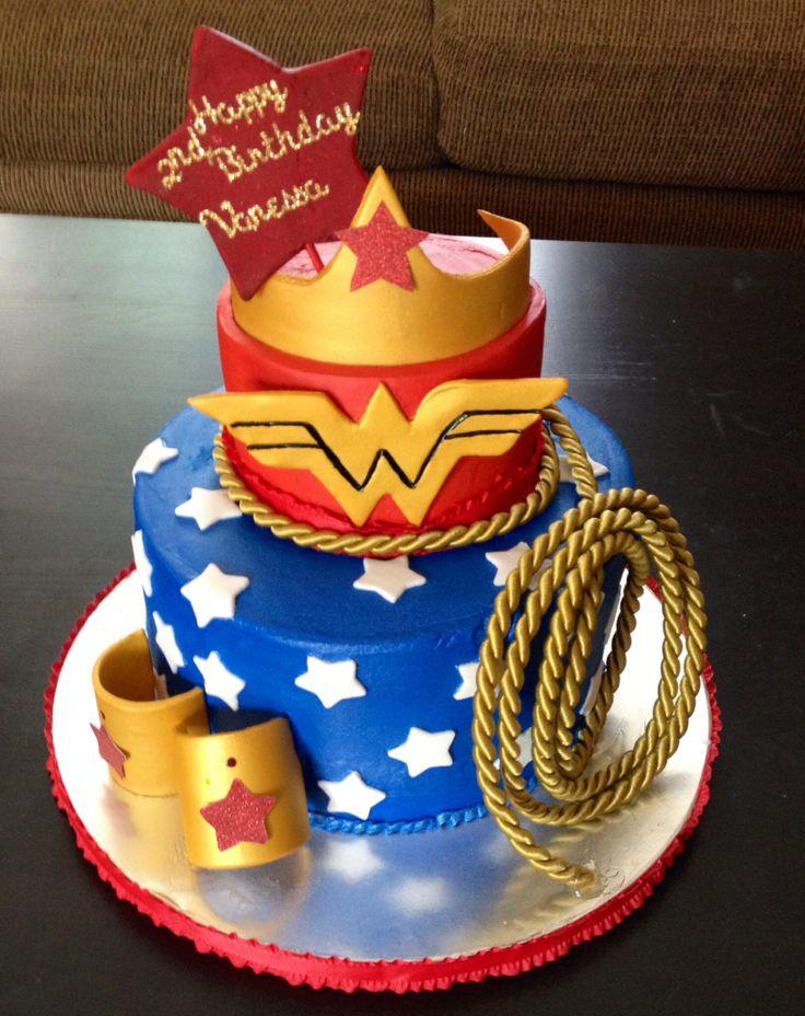 Wonder Woman Themed Happy Birthday Cake Sweet Blessings