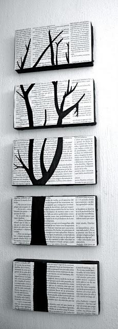 Absolutamente adoro isso.  Feita a partir de páginas de livros antigos, pintura e tampas de caixa de sapato!