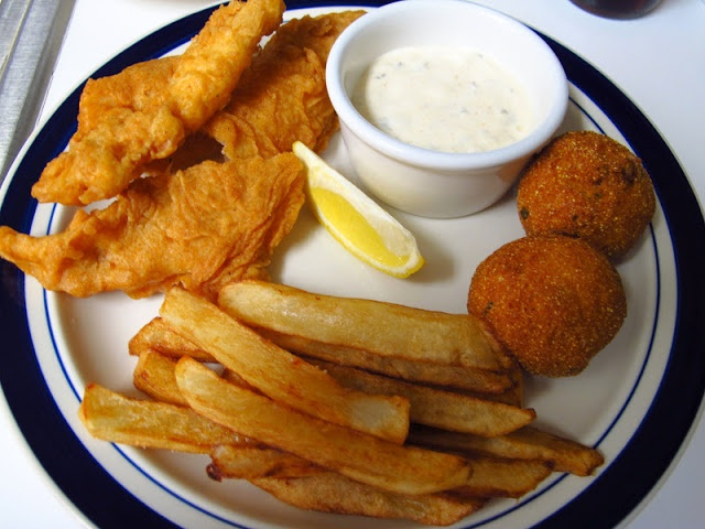 Beer-Battered Fish & Chips with Homemade Tartar Sauce and Hushpuppies