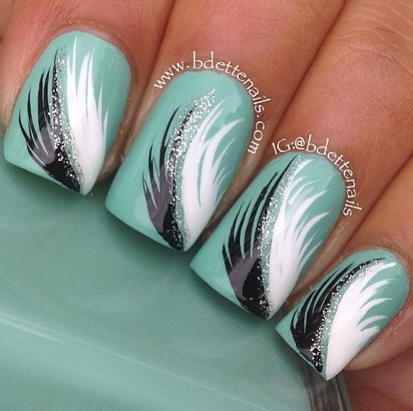 Nail Design Feather - Nail Arts