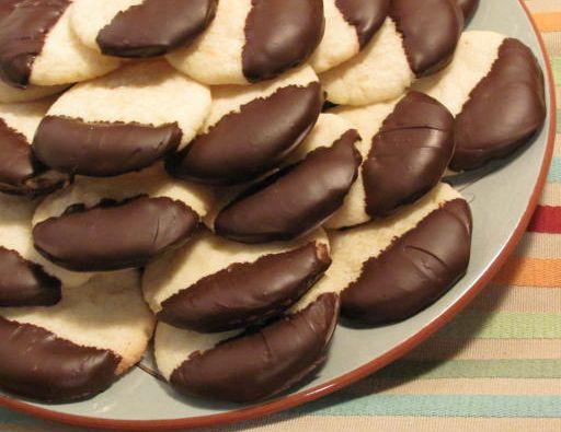 Orange butter cookies dipped in dark chocolate