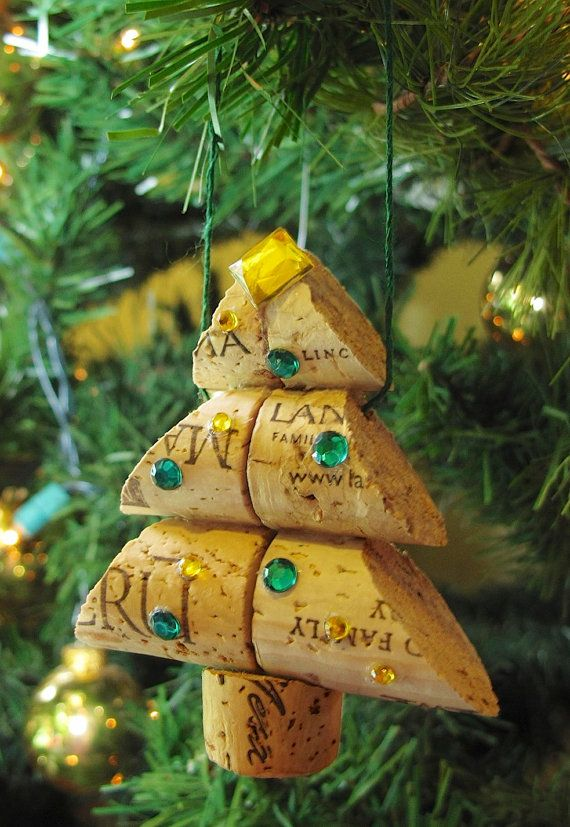Wine Cork Christmas Tree Ornament  Small Size by LMadeIt on Etsy, $8.00