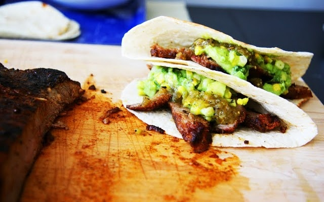 Carne Asada and Grilled Corn Guacamole Tacos