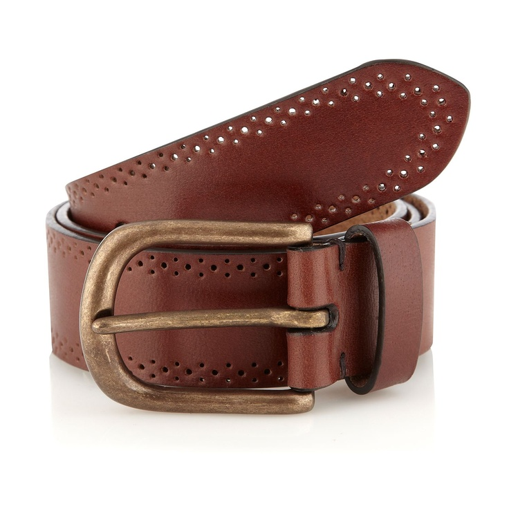 Brown punched leather belt