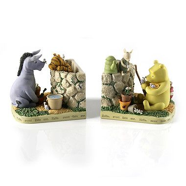 winnie the pooh in the garden bookends library decor pinterest. Black Bedroom Furniture Sets. Home Design Ideas