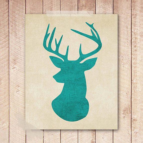 Etsy Teal Wall Decor : Deer art print teal antler printable wall