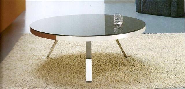 New Round Coffee Table Black Glass Top With Chrome Legs