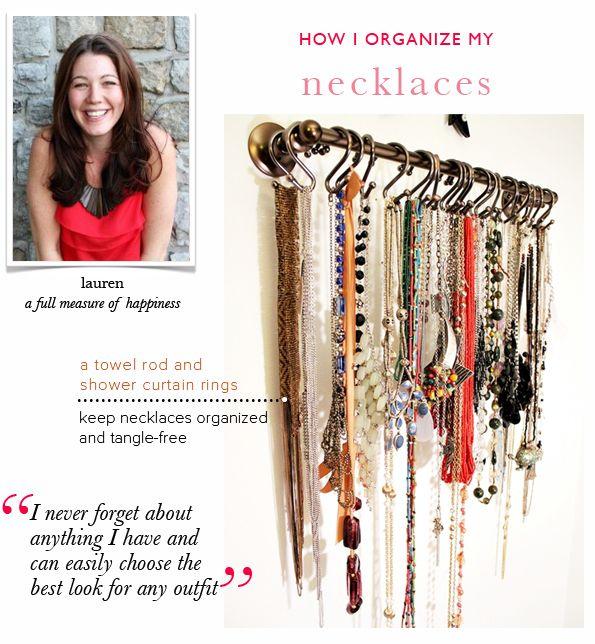 how to organize necklaces - good idea for closet!