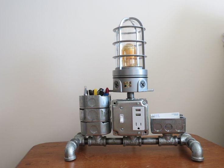 industrial desk or night stand lamp desk caddy charging station st. Black Bedroom Furniture Sets. Home Design Ideas