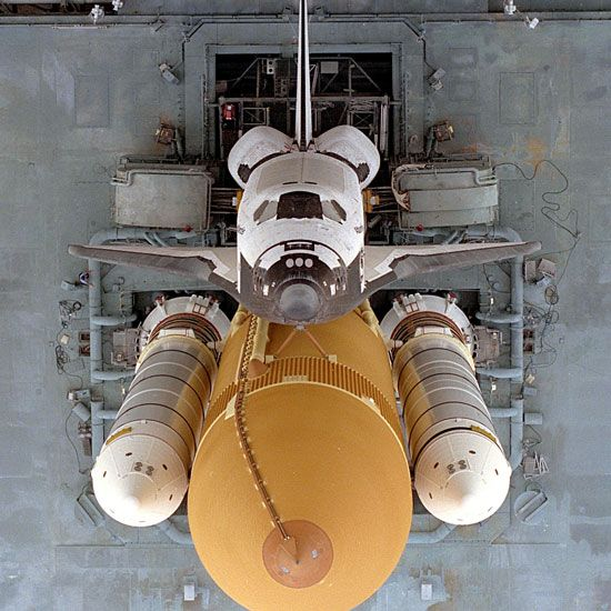 Space Shuttle Atlantis on the Cape Canaveral launch pad in Florida.