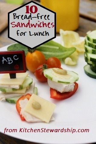 No bread? Packed Lunch? 10 packable sandwich alternatives, gluten-free, grain-free, some with gluten options - lots of ways to get veggies and protein to your mouth in a healthy packed lunch :: via Kitchen Stewardship