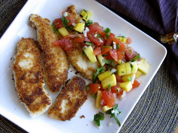 Coconut Chicken Fingers with Mango Salsa | Delicious and 'maybe' Nutr...
