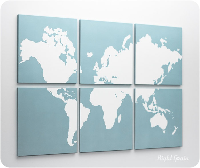 World map wall art diy decor pinterest for Diy map wall art