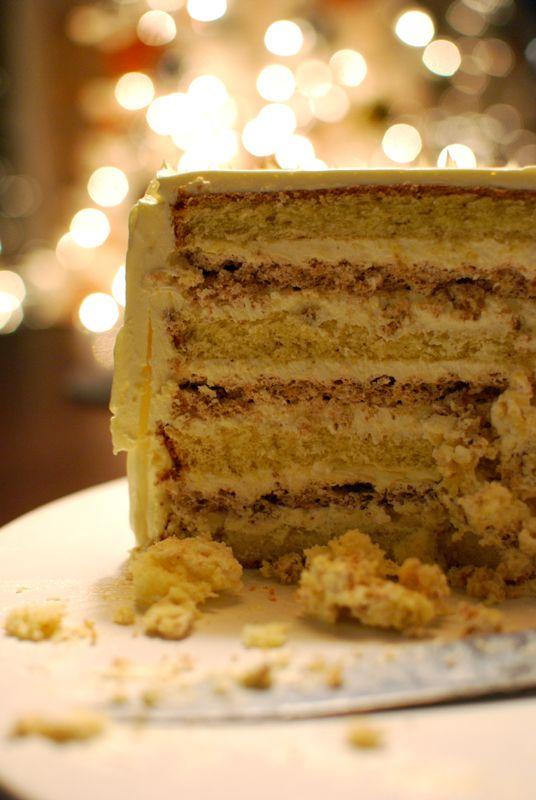 apple cider, rum buttercream, and walnut dacquoise birthday cake