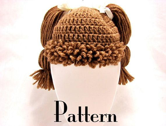 Crochet Pattern For Cabbage Patch Baby Hat : Cabbage Patch Kid Style Crochet Hat PATTERN - All Ages