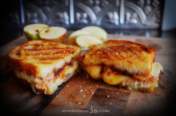 candied bacon, apple butter, and gruyere grilled cheese
