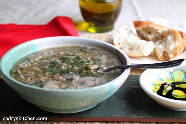 Double Lentil and Mushroom Barley Soup | Soup | Pinterest