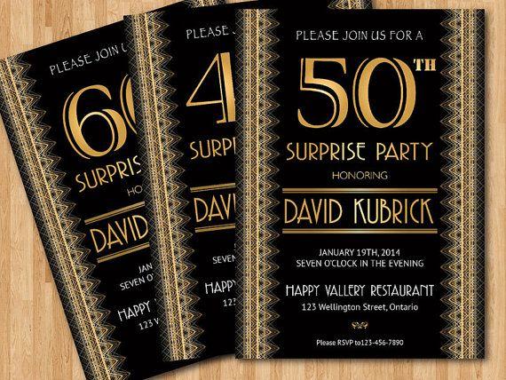 Gatsby birthday invitation. Printable 30th 40th 50th 60th 70th ...