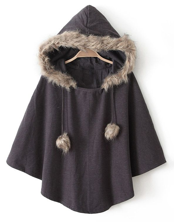 Brown Hooded Faux Fur Cape Coat EUR€18.90