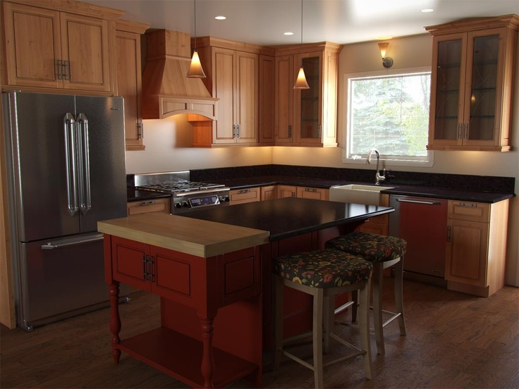 kitchen uses cabinets with autumnal colors?caramel brown, cardinal