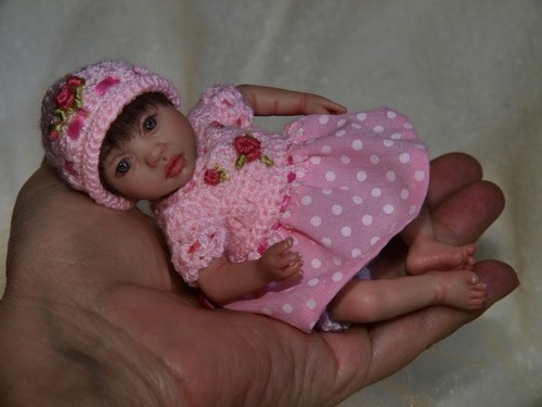 Ooak polymer clay baby girl art doll mini by rosa linn