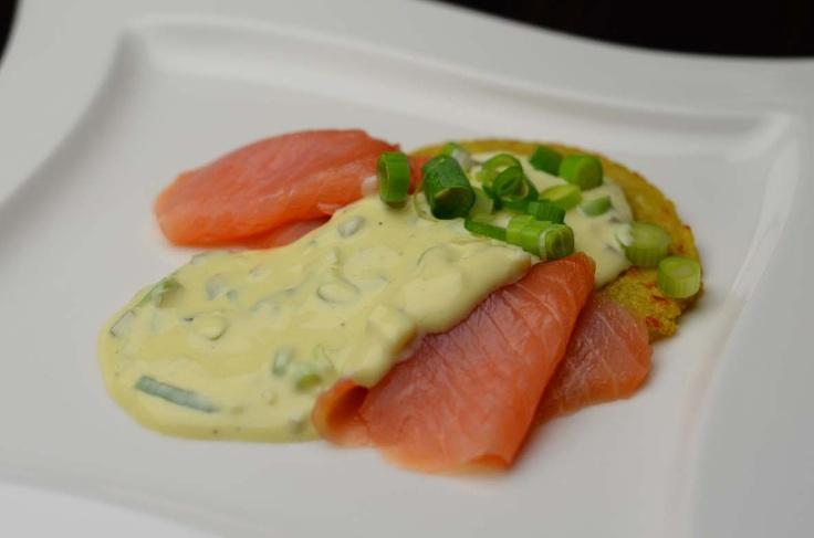 Smoked Salmon Rosti with Homey-Mustard Sauce