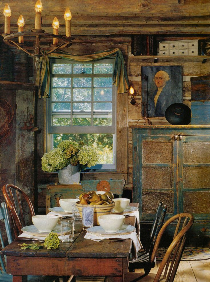 Lovely primitive dining rooms pinterest for Primitive dining room ideas