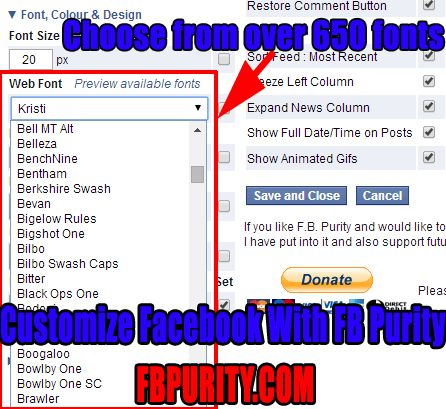FB Purity gives you the most choice of fonts for viewing Facebook in the style that you like