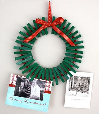 Homemade wreath for holiday greeting cards