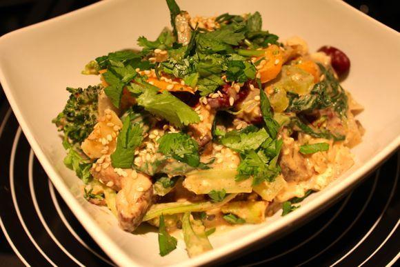 Water-sauteed veggie dish with Almond-Tahini sauce. #whatveganseat