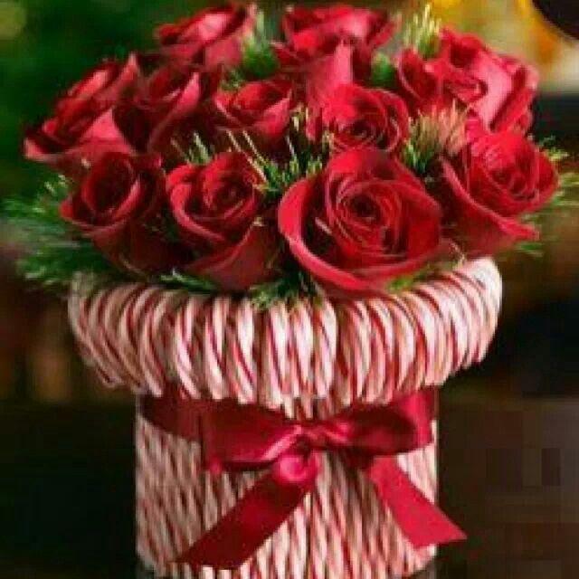 Candy cane decorated vase christmas holiday decor