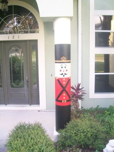 Christmas Decorating Ideas For Porch Columns : Christmas decorative outdoor  nutcracker column wrap decoration