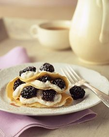Cornmeal Crepes with Fresh Buttermilk Cheese and Blackberries | Recipe