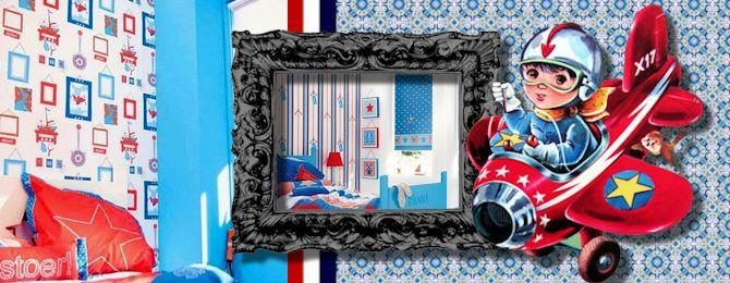 Stoere kinderkamer met behang van lief!  Kinderkamer  Pinterest