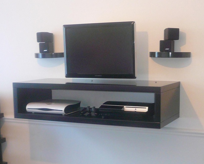 Floating media center stylish and space saving furniture for Floating entertainment center ikea