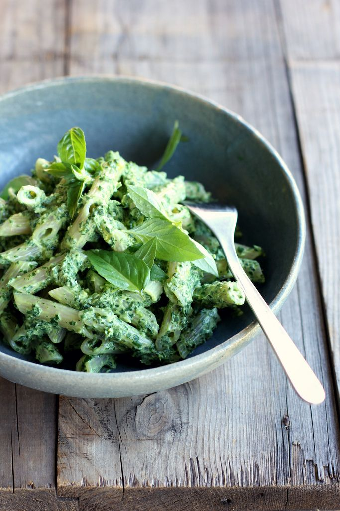 "Make pasta with swiss chard, basil and goat feta ""pesto."""